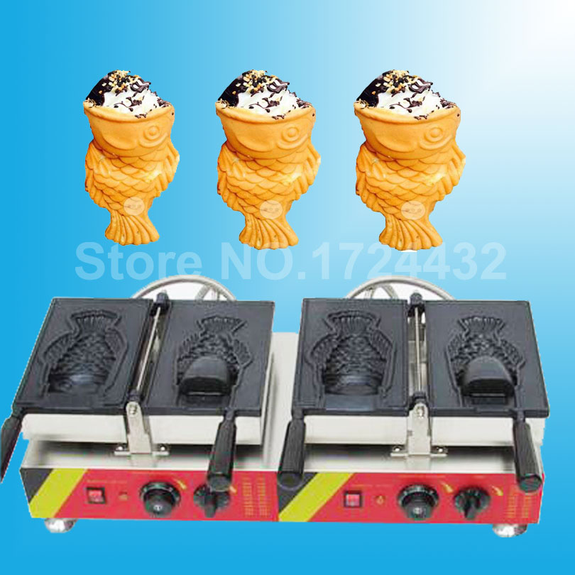 Double head electric taiyaki waffle machine Ice Cream Big Mouth Fish Waffle Taiyaki Baker Electric yaki fish waffle machine 4pcs fish moulds commercial use non stick electric ice cream fish taiyaki maker machine baker