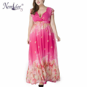 Women Chiffon Sexy V-neck Short Sleeve Beach Print Dress Stretchy Plus Size 7XL Summer Long Maxi Dress