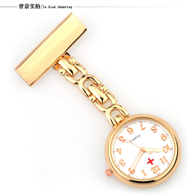 Luxury Gold Silver Stainless Steel Nurses Fob Watch Clip On Hanging Brooch Round Quartz