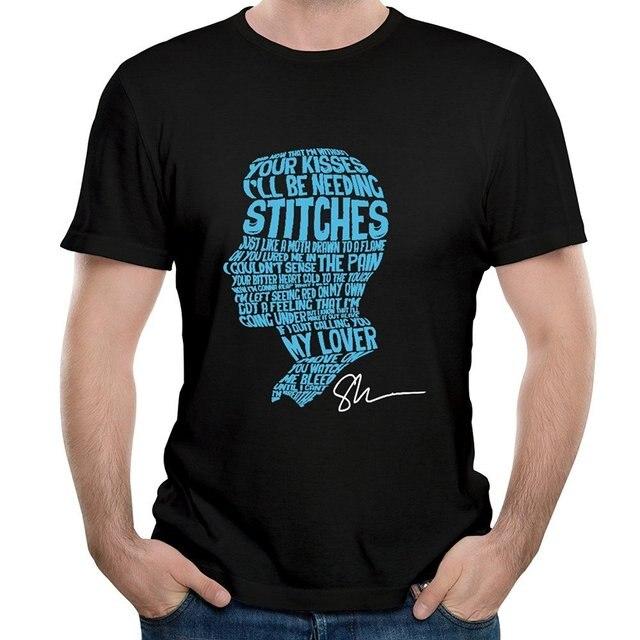 Puntadas de los hombres Letras En La Cara De Shawn Mendes Manuscrita Graphic Tee Shirt