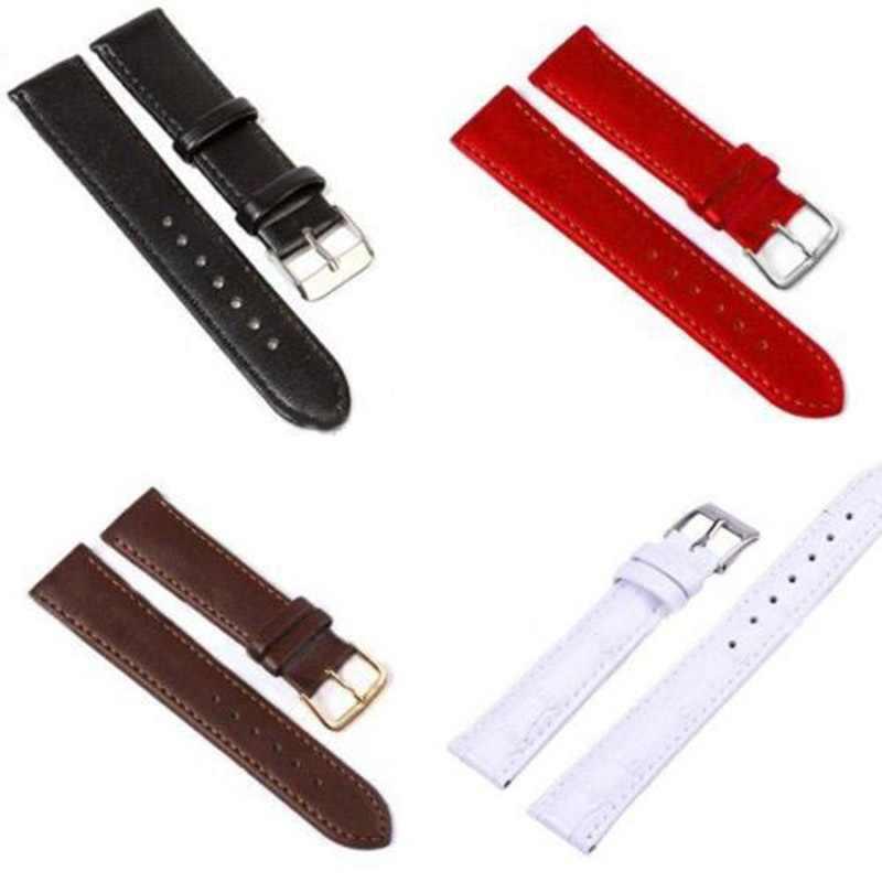 Splocie płóciennym PU skórzany pasek od zegarka 12 MM, 14 MM, 16 MM, 18 MM, 20MM pasek zegarka cukierkowe kolory zegar pasy do zegarków