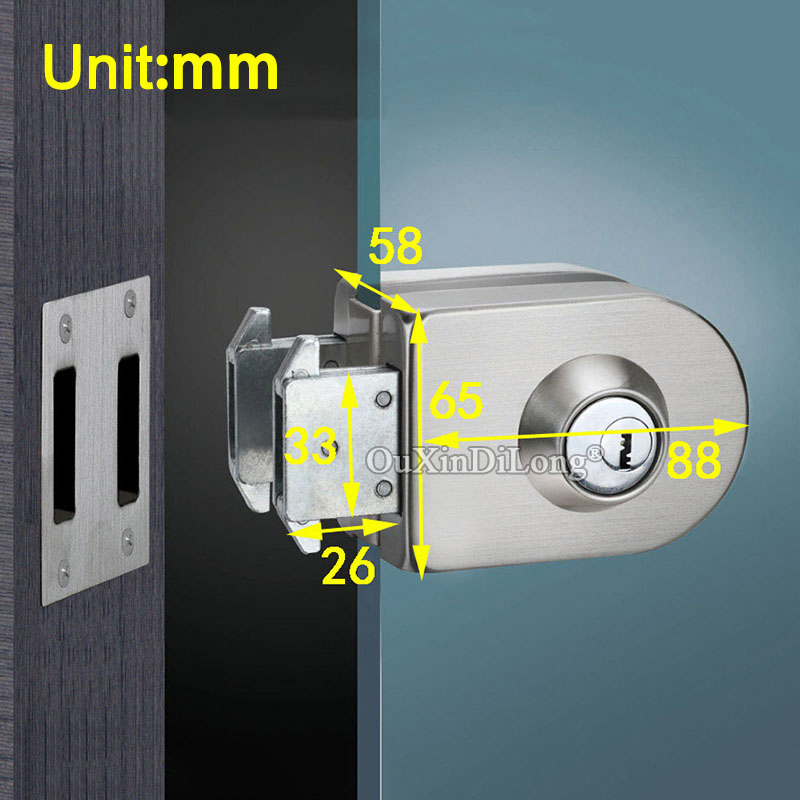 High Quality Stainless Steel Frameless Single Glass Door Locks Shopping Mall Glass Door Latches w Keys for 10~12mm Glass