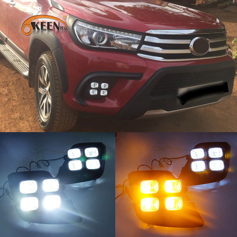 OKEEN 2x LED Daytime Running Light For Toyota Hilux Revo 2015 2016 2017 Front Bumper Fog Lamp Turn Signal Light White Amber DRL revo fog lamp waterproof led car drl daytime running lights accessories for toyota hilux vigo champ 2015 2016 year