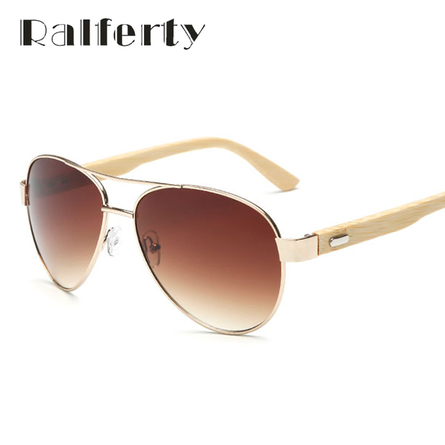 30ae4dde05 Ralferty Vintage Pilot Wood Sunglasses Men Women UV400 Gradient Sun Glasses  Driver Sport Eyewear Original Bamboo