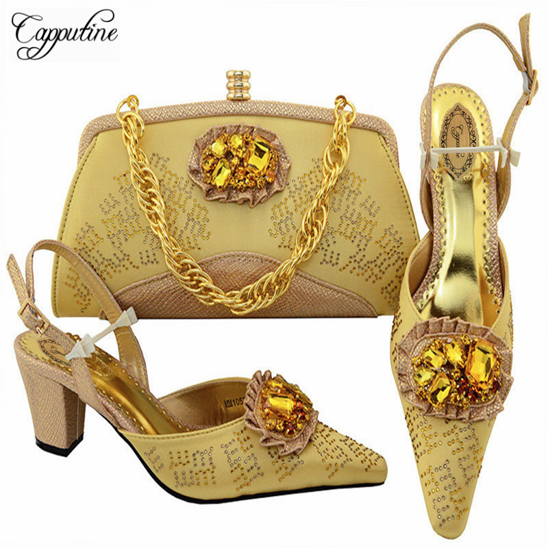 Capputine Free Shipping Nigerian Elegant Women High Heels Shoes And Bag Set Latest Style Pumps Shoes And Bag Set 7Colors M10576 elegant m