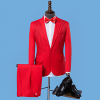 Men's Formal Suits red white Crystals Slim Blazers Group musical performance Costume Wedding Party Prom Host singer Stage suit