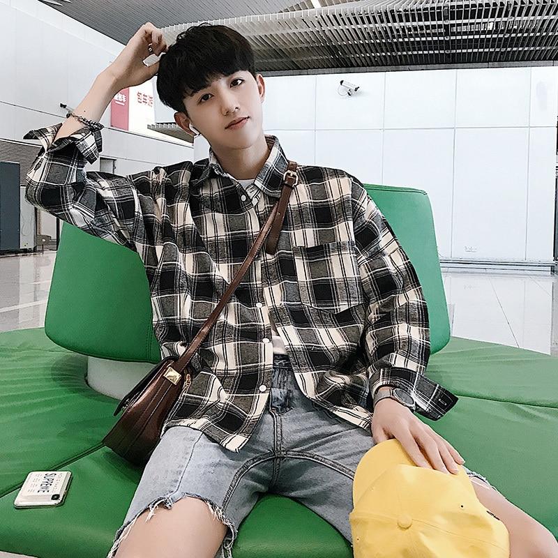 Fashion Lattice Turn Down Collar Long Sleeve Pockets Shirt Male 2018 Autumn Casual Original Design Loose Cotton Men Camisa S-3XL