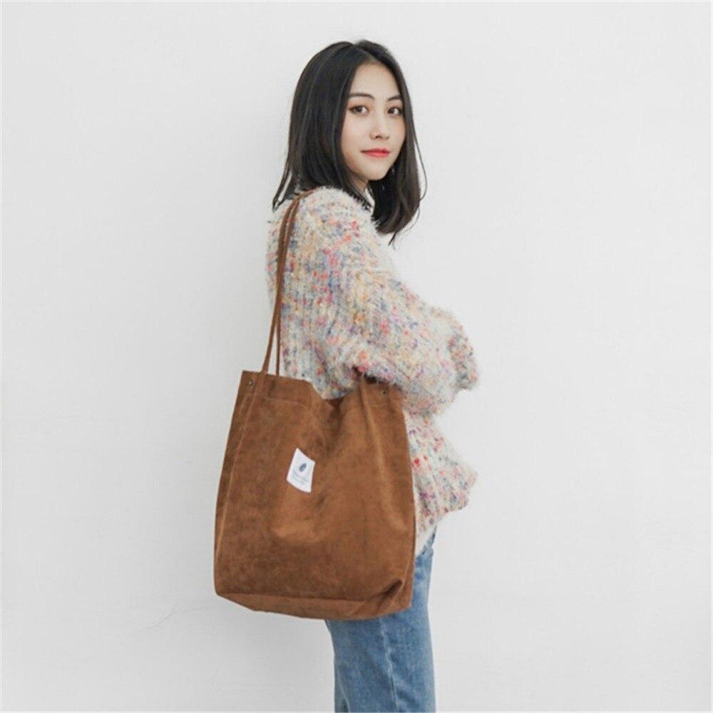 Tote-Bags Handbag Canvas Solid-Shoulder-Bag Top-Handle Crossbody College-Style Corduroy