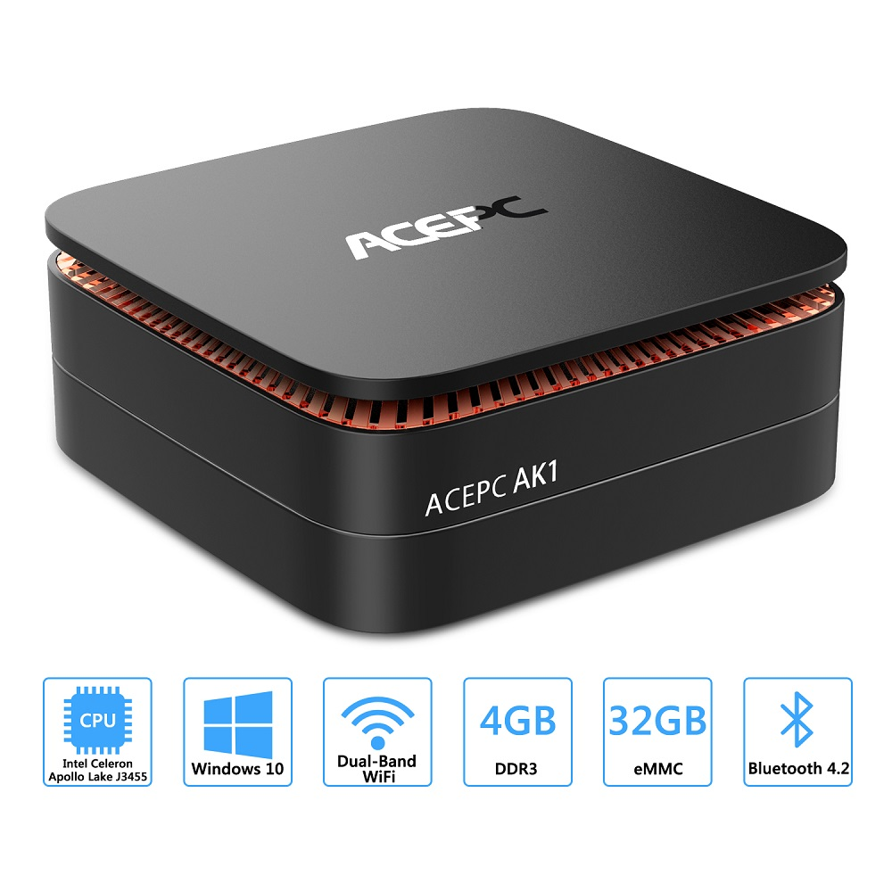 AK1 Mini PC Windows10 Mini Computer Intel Celeron Apollo Lake J3455 8G RAM 128GB SSD HTPC Office HDMI WiFi4K USB3.0 Mini Desktop-2