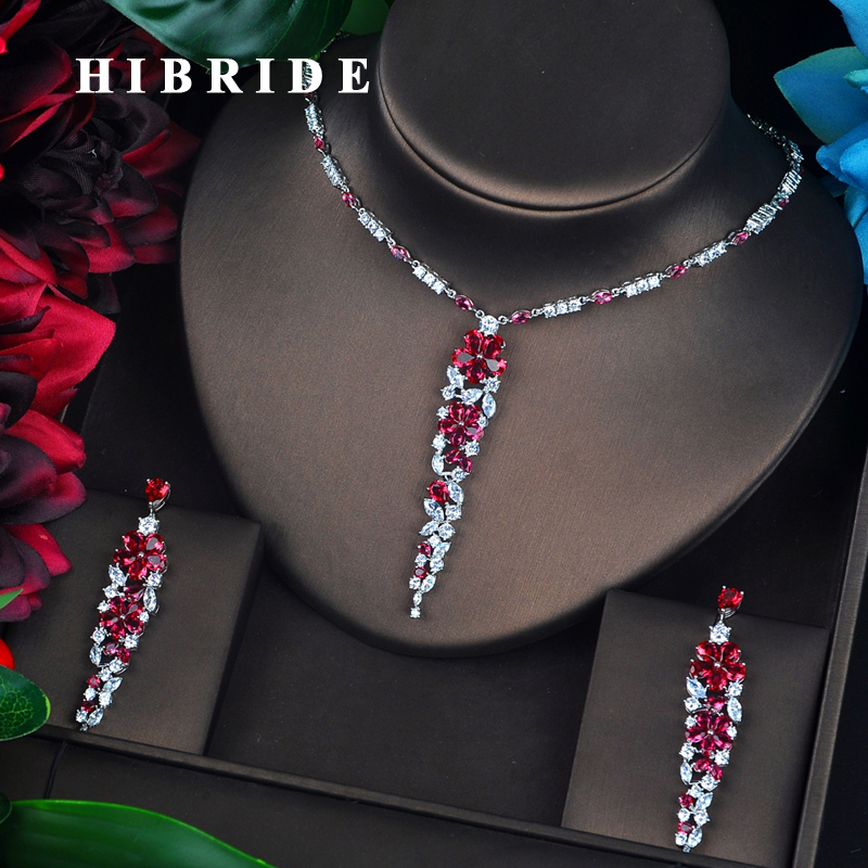 HIBRIDE Sparkling Dubai Full Cubic Zircon Jewelry Sets For Women Wedding Accessories Long Pendientes Mujer Moda N 696