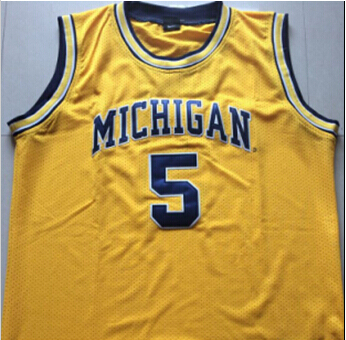 58c21cf2b99 Jalen Rose 5 Michigan State Basketball Jersey THROWBACK Yellow Custom any  Size,Number and name 100% stitched High Quality XS-3XL