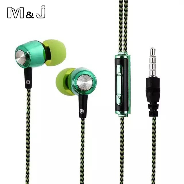 M&J A13 New Plating Stereo Bass Earphone wire braid Earbuds In Ear Earbus 3.5mm with Microphone For Iphone Samsung Xiaomi MP3