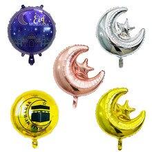 18 inch Round Eid Mubarak Foil Balloons Hajj Mubarak Decorations Star Moon Helium balloon Ramadan Kareem Eid Al Fitr Supplies