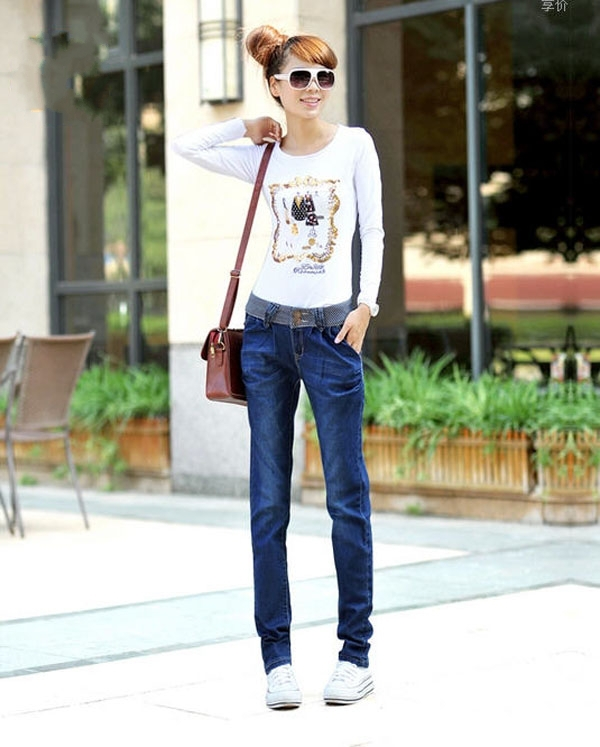 2014 spring new female jeans pants breasted wide jeans thin stretch pants female feet S139