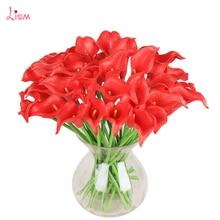6 шт. Калла искусственная ветка с цветами латексный цветок украшения Свадебные украшения дома