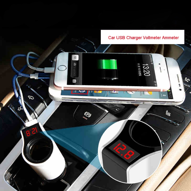 Dual USB Car Charger Cigarette Lighter Socket LED Voltmeter Ammeter Adapter