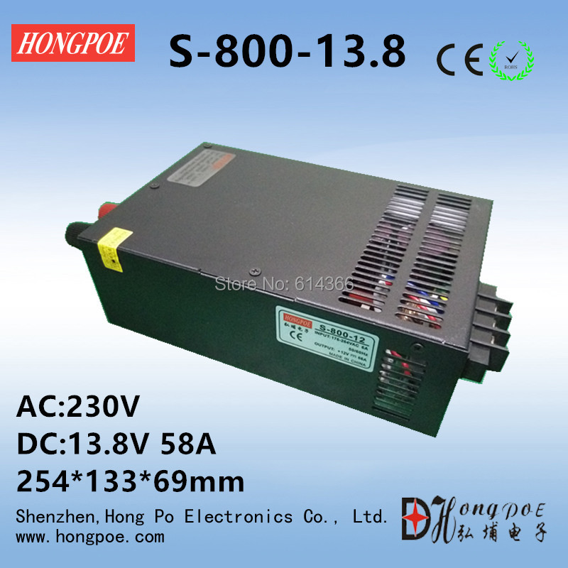 Best quality 13.8V 58A 800W Switching Power Supply Driver for LED Strip AC 230V Input to DC 13.8V free shipping best quality 15v 26 5a 400w switching power supply driver for led strip ac 100 240v input to dc 15v free shipping