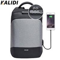 KALIDI Anti Theft Laptop Backpack 15 6 Inch Waterproof Men Backpack USB Charger Travel School Bag