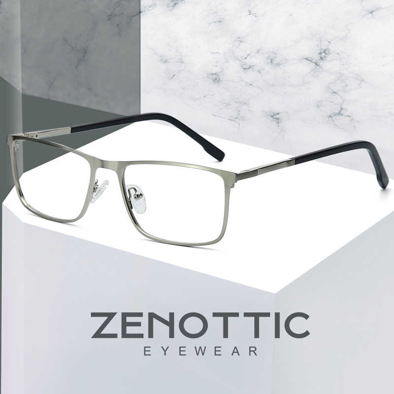 04020cbd7ef ZENOTTIC Alloy Square Prescription Glasses Men Optical Myopia Clear Eye  Glasses Frame Anti-Blue-