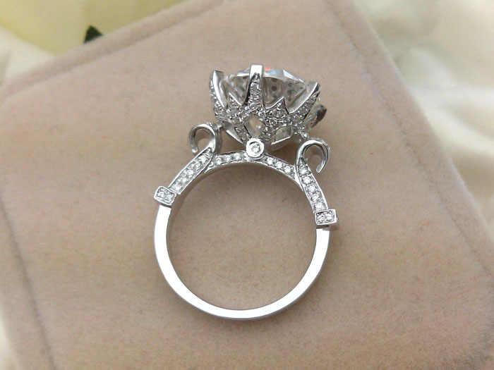 5CT エクセレントラウンドヴィンテージ結婚記念日婚約指輪本物のスターリングシルバーシミュレートダイヤモンドリング