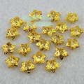 2PCS/lot Gold Metal Hollow Stars With Beaded in Heart Alloy Nail Art Rhinesones Studs Decoration IDH2 DIY Salon Tip