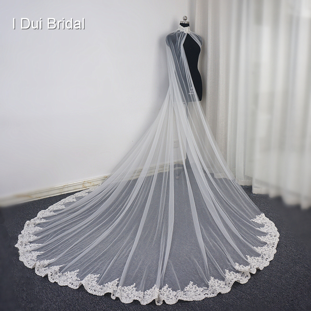 3 Meter Lace Bridal Cape Cloak Wedding Shawl with Crystal Beaded High Quality Custom Made Lace