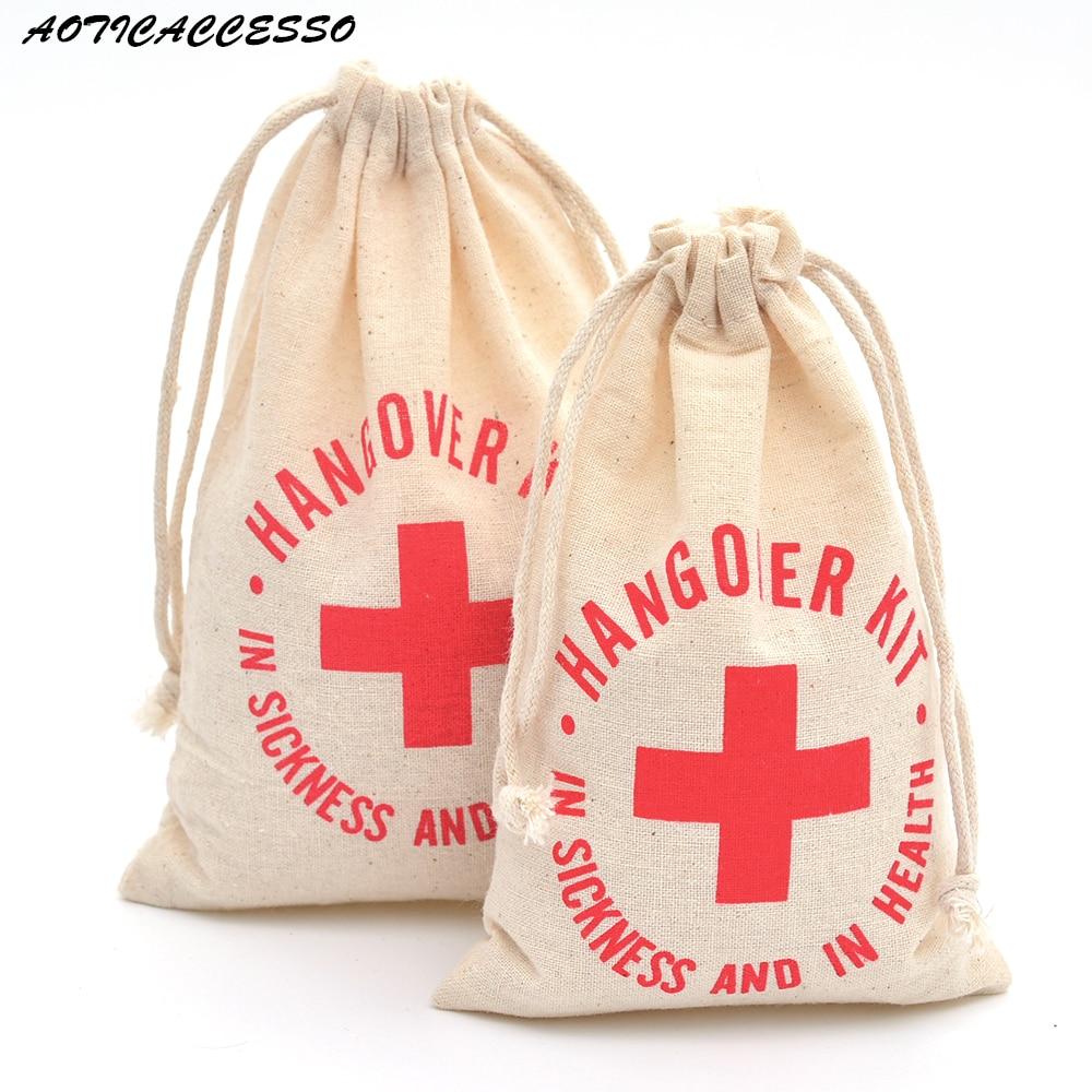 10pcs Double Drawstring Bag Hangover Kit Bag Wedding Party Favors Sack Bachelorette Party Supplies Linen Cotton Drawstring Bags