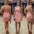 Elegant Short Sleeves Pink Lace Cocktail Dresses Sex See Through Back Straight Hot Sale Fashion High Neckline Party Gowns