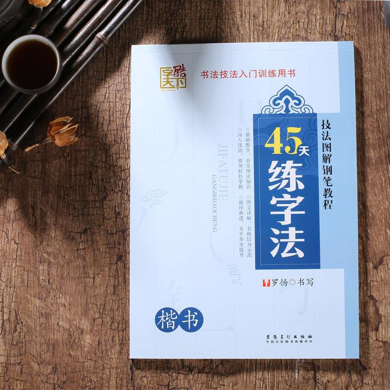 45 Days' Practice of Calligraphy Copybook in Regular Script learn Chinese for adults kids children art drawing antistress libros expert of chinese in 30 days intermediate cd