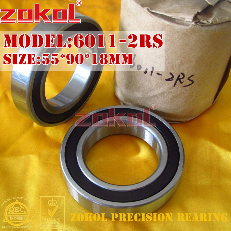ZOKOL 6011RS Bearing 6011 2RS RS 180111 6011-2RS Deep Groove Ball Bearing 55*90*18mm