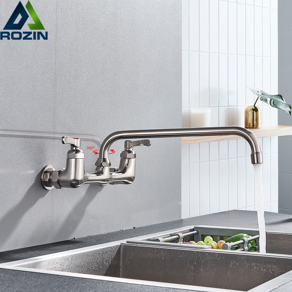 Kitchen Sink Faucet Dual Handle Brushed