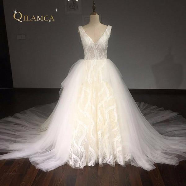 Robe De Mariee Ball Gown Vintage vestuvių suknelė 2017 V Neck Lace - Vestuvių suknelės