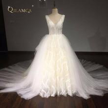Jubah De Mariee Ball Gown Vintage Wedding Dress 2017 V Leher Renda Manik-manik Chapel Kereta Gaun Pengantin Plus Ukuran