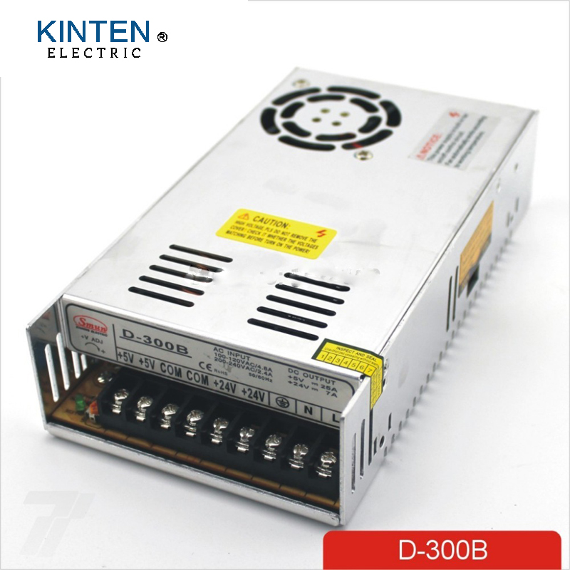 300W B Dual output 5V 24V Switching power supply AC to DC 25A DC 7A free shipping120w mini dual output switching power supply output voltage 5v 24v ac dc d 120b