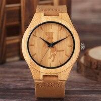 Casual Holz Uhr Schöne Kran Hund Katze Carving Vorwahlknopf-analoge Nette Jungen Mädchen Bambus Quarz Armbanduhr Entzückende Holz Uhr