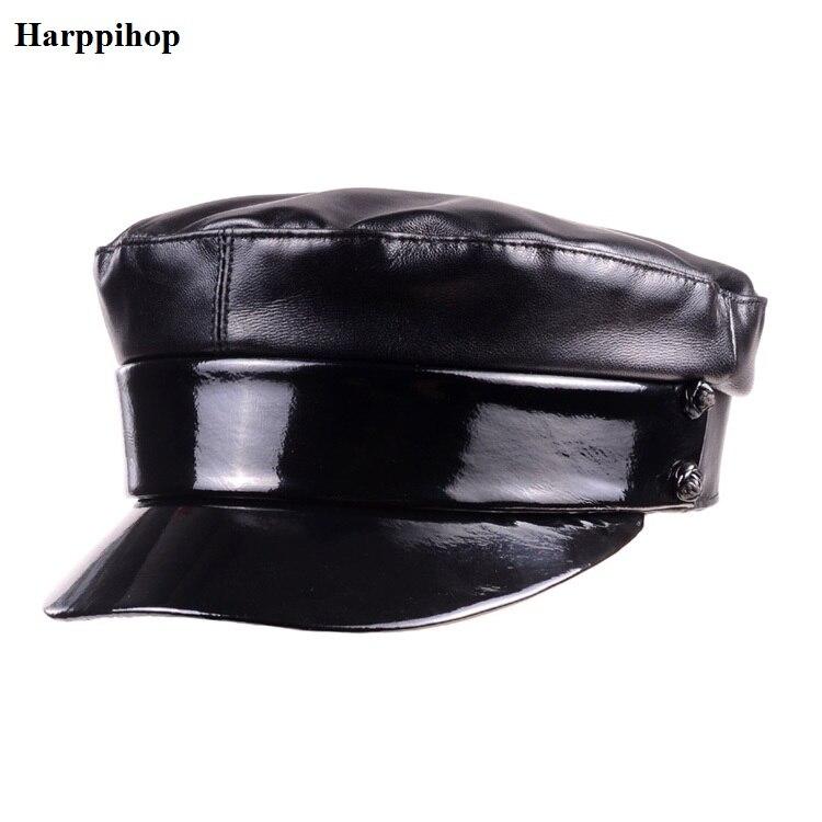 Casquette en cuir véritable casquette standard à dessus plat pour étudiants casquette marine noeud papillon femme noir chapeau haut tendance militaire femme marine