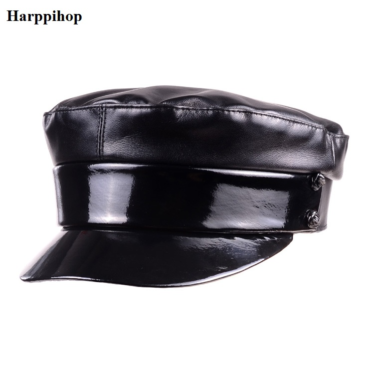 real leather cap standard flat top students cap navy cap bow knot female black hat fashion top military female navy