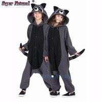 HKSNG Polar Fleece Grey Raccon Animal Pajamas Kiguruma Coon Cosplay Costume Onesies For Adult Couples Halloween
