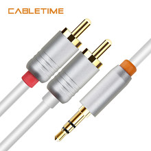 Cabletime 3.5 Audio to 2 RCA Cable 3.5mm Jack RCA AUX Cable for DJ Amplifiers Subwoofer Audio Mixer Home Theater DVD N142(China)