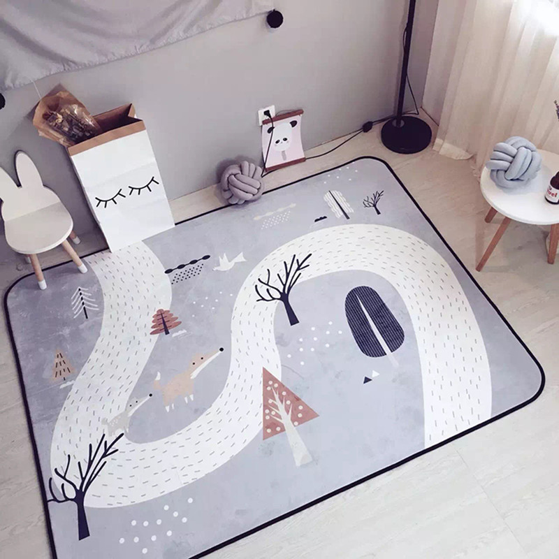 Enfants dessin animé motif impression tapis ronds pour enfants salon jeu tapis pour enfant chambre ramper tapis Yoga tapis suspendu panier pad