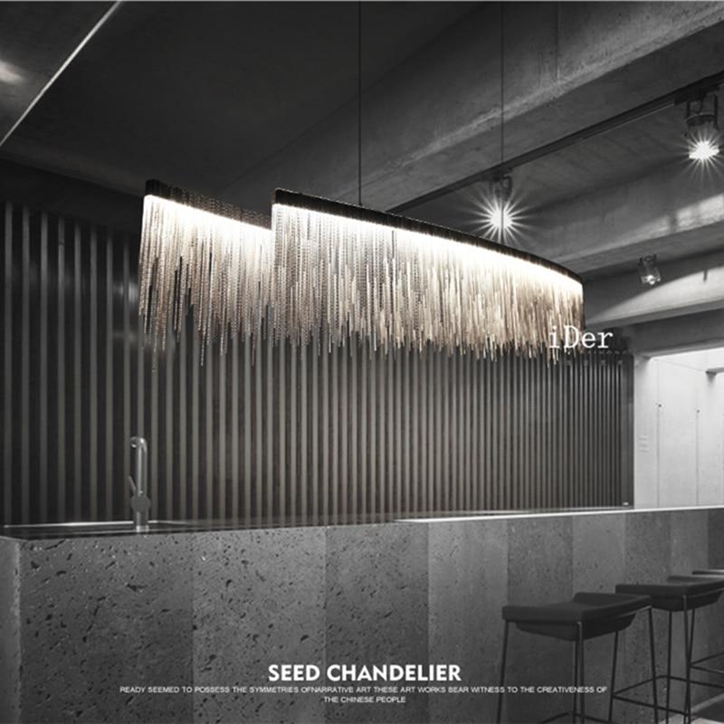 Modern designer decorative Pendant Lights Nordic tassel restaurant luxury hotel engineering chain living room art lighting