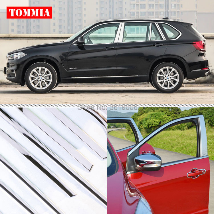 TOMMIA Full Window Middle Pillar Molding Sill Trim Chromium Styling Strips Stainless Steel For BMW X5 2014-2015