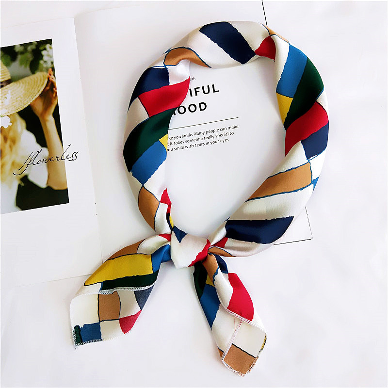 New Elegant Women Square Silk Head Neck Bufanda Mujer Hair Tie Band Small  Fashion Square Scarf Bandana Handkerchief Accessories