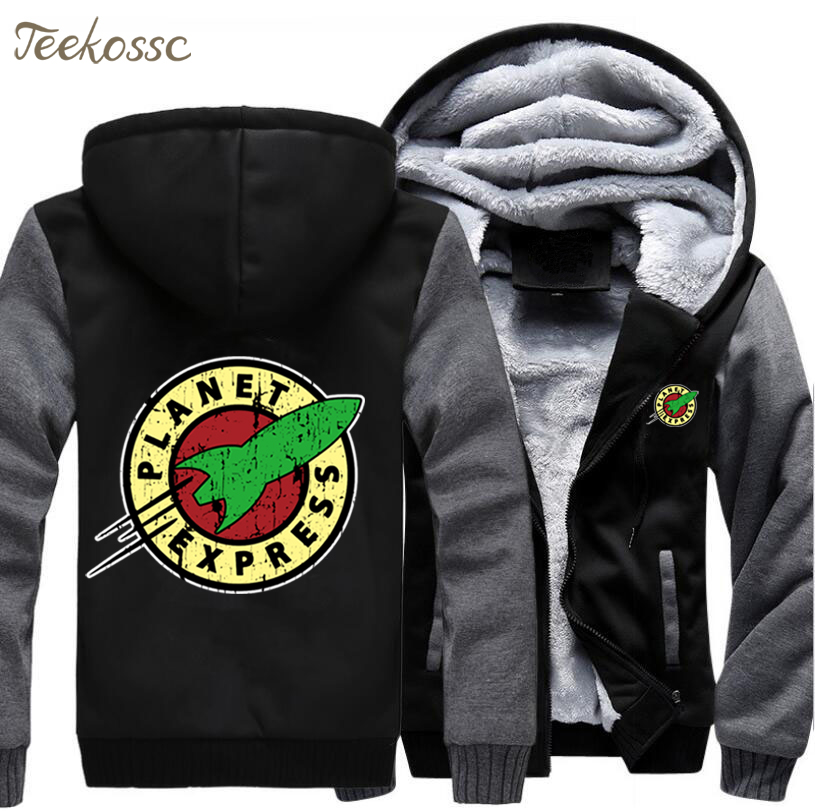 Planet Express Hoodie Men Cartoon Hooded Sweatshirt Coat 2018 Winter Thick Fleece Warm Zipper Jacket Hipster Casual Streetwear