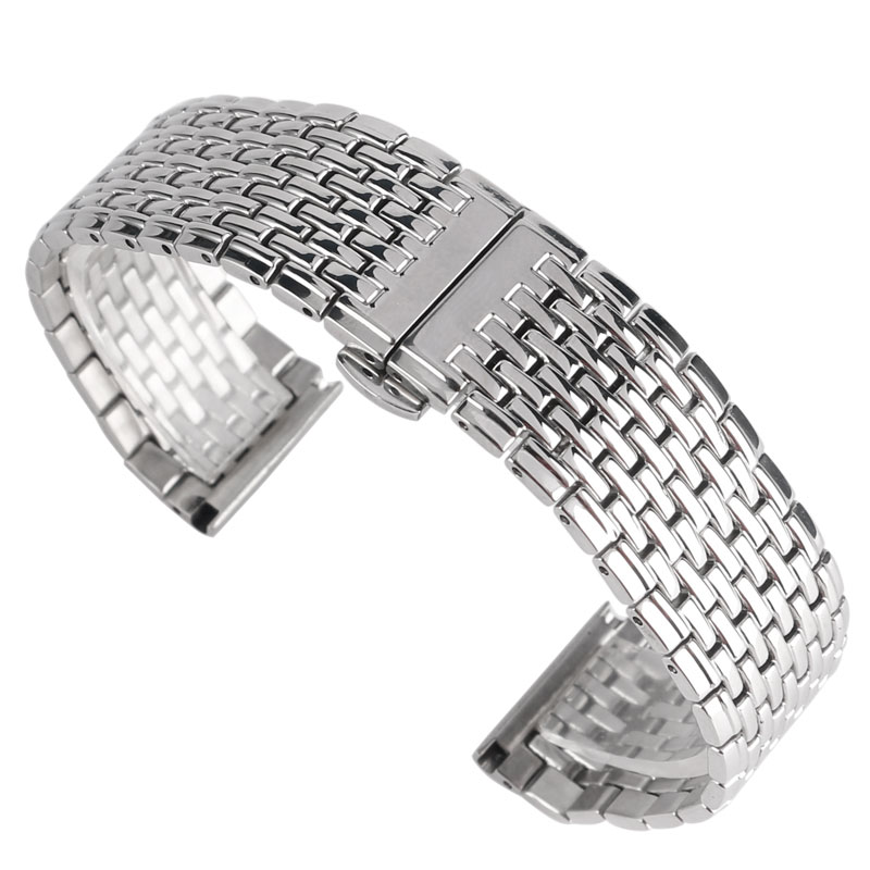 цена на HQ Silver 20mm 22mm Watch Band Stainless Steel Push Button Hidden Clasp Watch Strap For Men Women Wrist Watch Replace