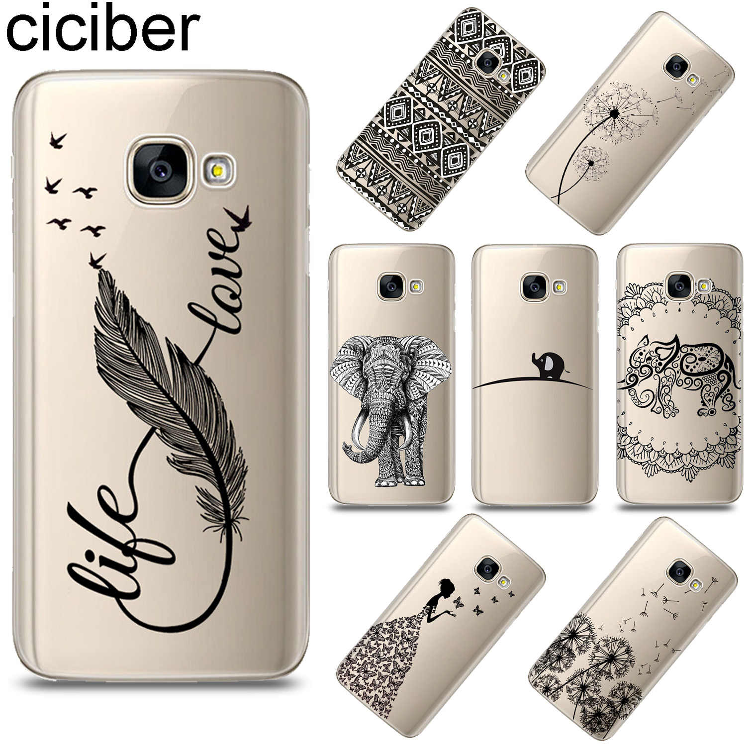 ciciber Totem Animal Feather For Samsung Galaxy A8 A9 2018 PRO A6 A8 Plus 2018 A5 2016 A3 A7 2017 Soft TPU Phone Case Funda Capa