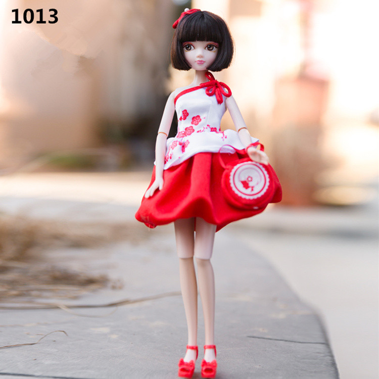 Upgrade Chinese Knot Red Porcelain Dress Kurhn Doll Anniversary Dolls Girls Toys Children Christmas Birthday Kids Gift bonecas