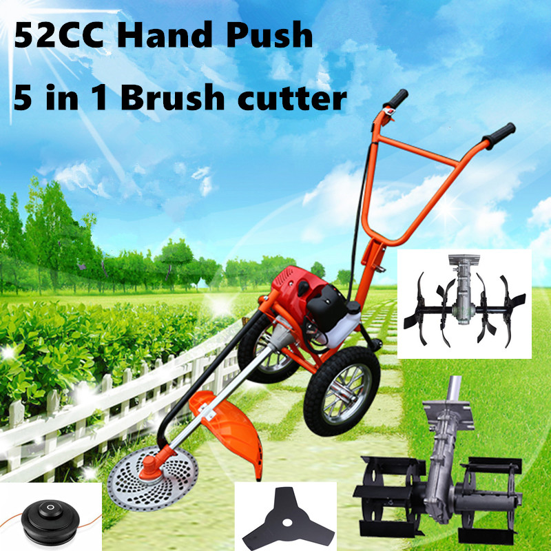 2018 New Hand Push 2 Stroke 52cc 1.75kw 5 In 1  Brush Cutter Grass Trimmer Tiller Head, Grass Tiller Head Garden Tiller