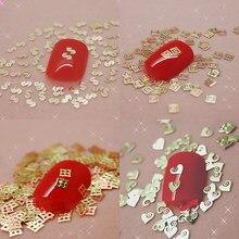 800PCS bellezza oro marchio logo design metallo nail art decorazione fetta manicure unghie decalcomanie lamina 21 disegni disponibili