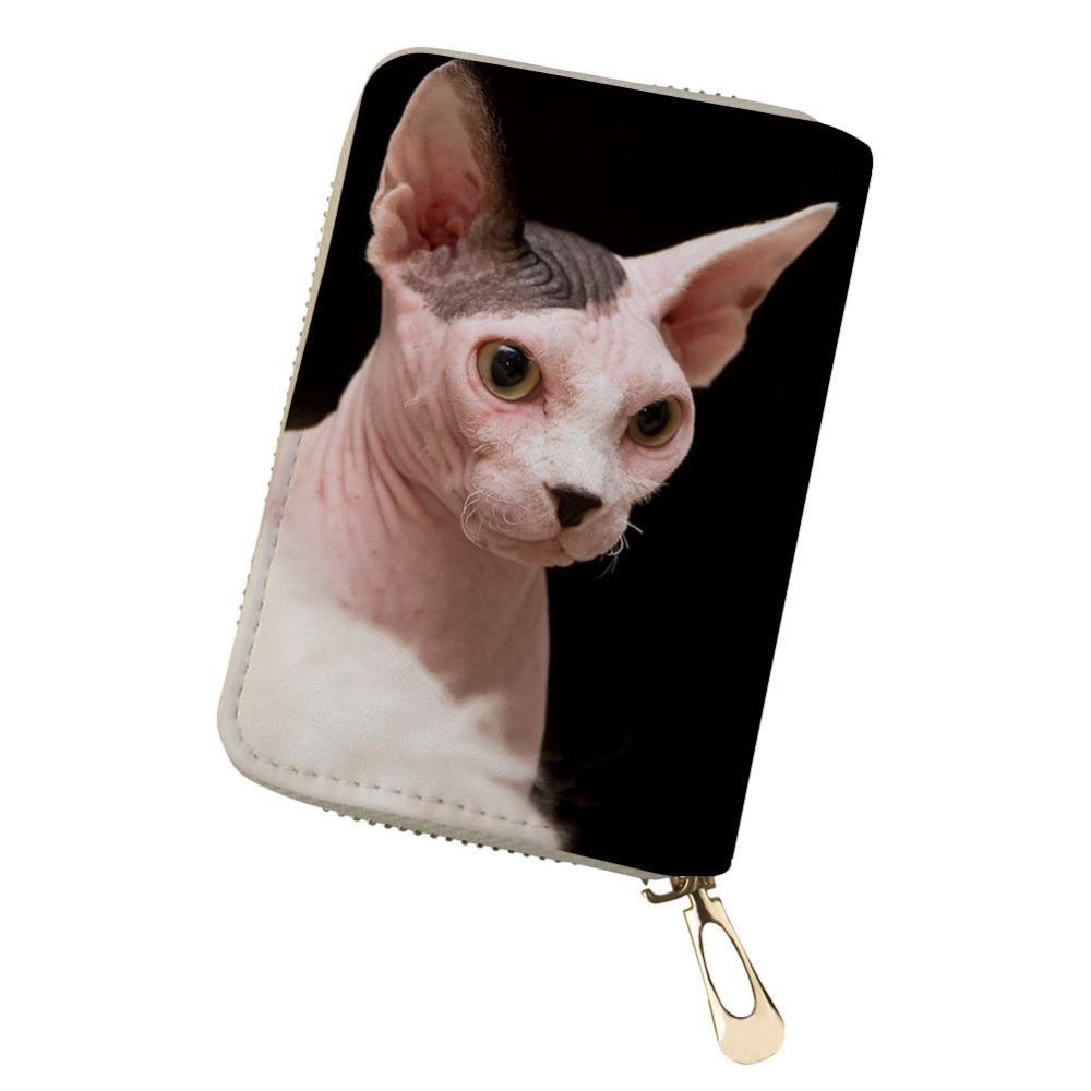 Customized Multiple Cards Canadian Hairless Sphinx Cat Print Portable Pu Leather Organizer Card Wallet Monedero Pokemon Kaarten Card & Id Holders